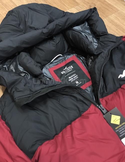 Áo khoác phao có mũ Hollister đen đỏ