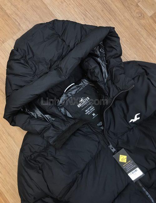 Áo khoác phao có mũ Hollister màu đen