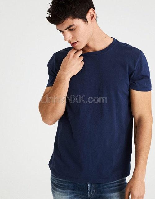 Áo thun nam cotton cổ tròn AE xanh navy