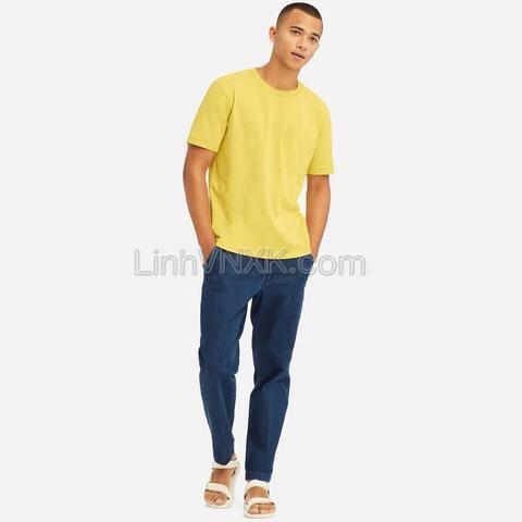 Áo thun nam cotton cổ tròn AE màu vàng