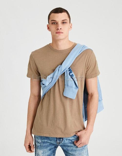 Áo thun nam cotton cổ tròn AE màu be