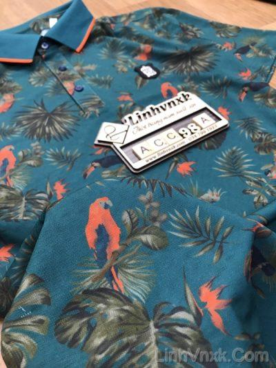 áo golf nam cộc tay hàn quốc xanh rêu họa tiết