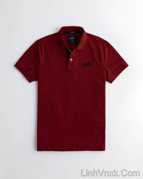 Áo phông cổ bẻ polo Hollister đỏ mận