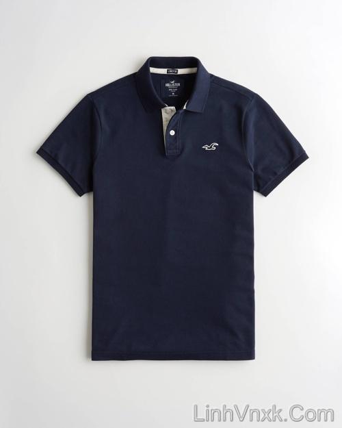 Áo phông cổ bẻ polo Hollister xanh navy
