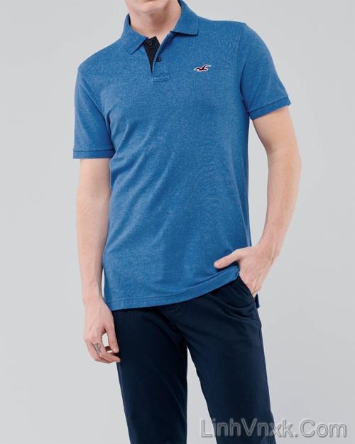 Áo phông cổ bẻ polo Hollister xanh blue