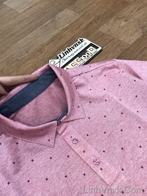 Áo polo nam xuất khẩu Pierre Cardin hồng họa tiết