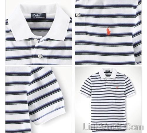 Áo phông cổ bẻ Polo Ralph Lauren kẻ ngang