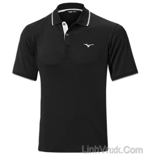 Áo thun polo golf Mizuno đen viền cổ