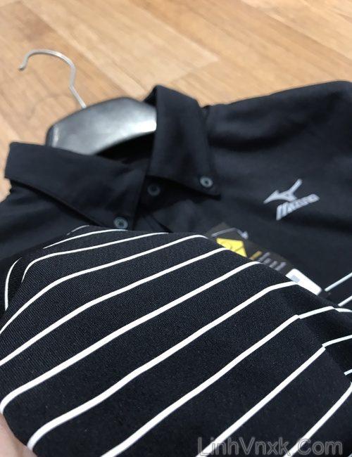 Áo thun polo golf Mizuno đen kẻ ngang ngực