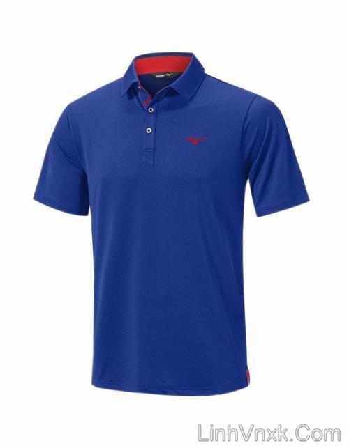 Áo thun polo golf Mizuno xanh blue