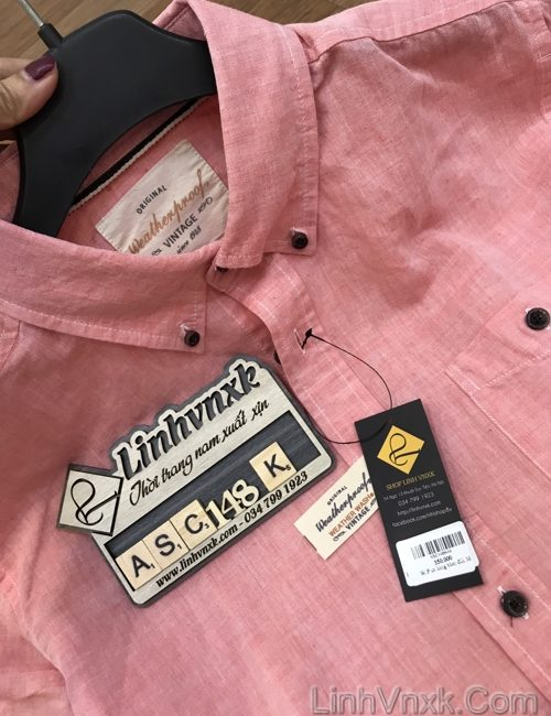 ÁO sơ mi đũi nam cộc tay weather proof xuất khẩu màu hồng
