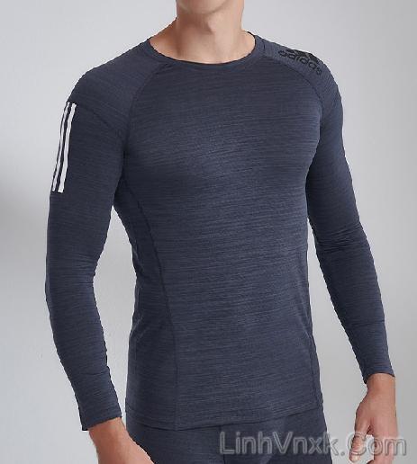 Áo thun dài tay thể thao Adidas giữ nhiệt màu ghi