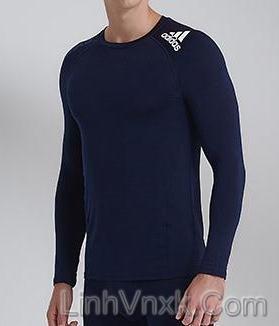 Áo thun dài tay thể thao Adidas giữ nhiệt xanh navy