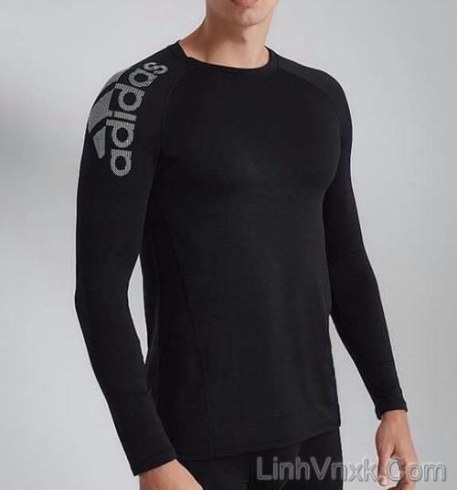 Áo thun dài tay thể thao Adidas giữ nhiệt màu đen