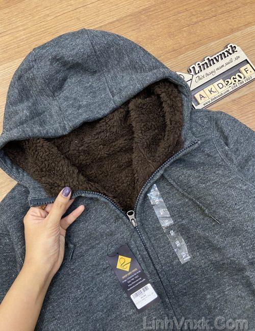 Áo khoác nỉ lót lông cừu ghi đậm