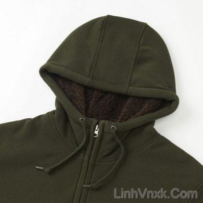 Áo khoác nỉ lót lông cừu xanh rêu