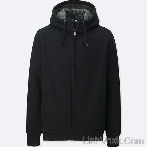 Áo khoác nỉ lót lông cừu màu đen
