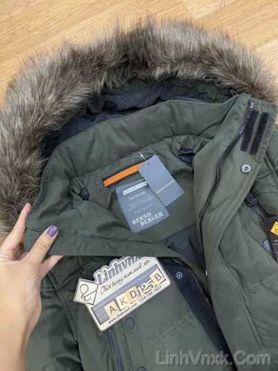 Áo khoác parka đi tuyết xanh rêu