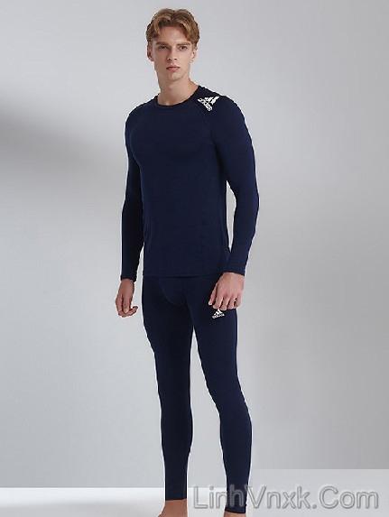 Bộ giữ nhiệt nam Adidas Hàn xanh navy