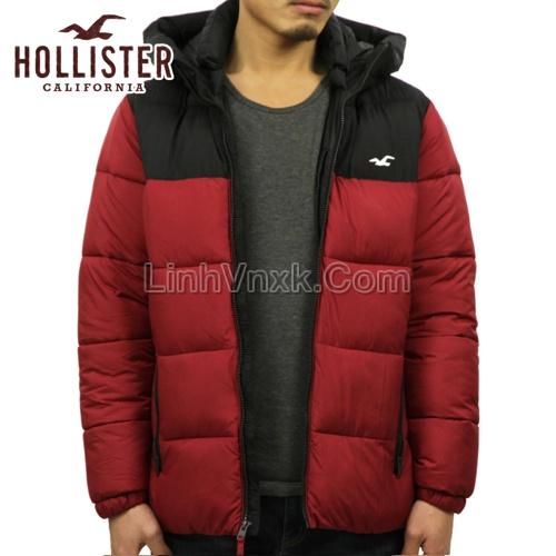 Áo khoác phao Hollister siêu nhẹ màu đỏ đen