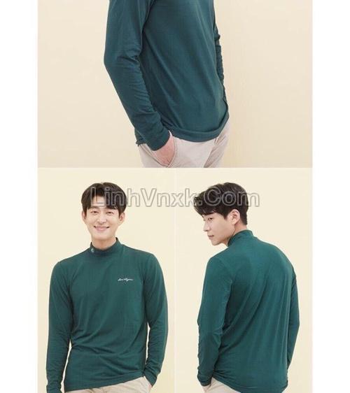 Áo golf cổ 3cm màu rêu xuất Hàn