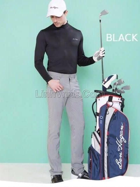 Áo golf cổ 3cm màu đen xuất Hàn