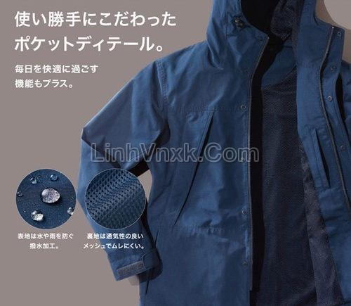 Áo khoác kaki xuất Nhật chống nước xanh navy