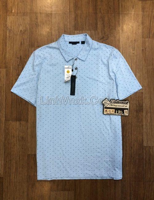 Áo polo Perry Ellis cotton pima xanh họa tiết