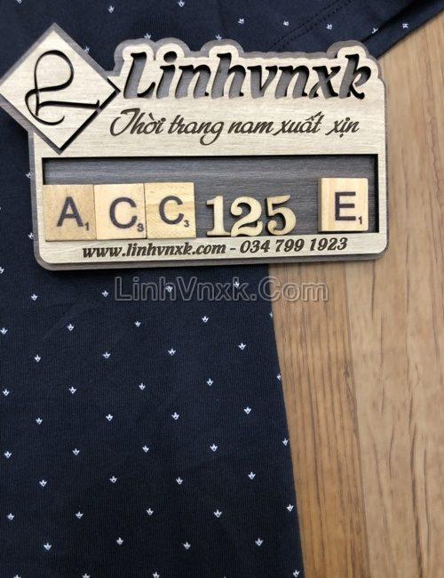 Áo polo Perry Ellis cotton pima đen họa tiết