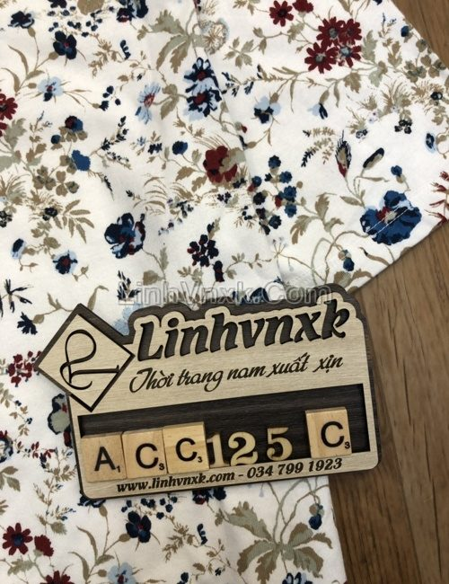 Áo polo Perry Ellis trắng hoa màu