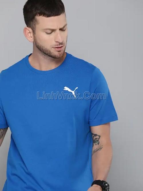 Áo thun nam thể thao puma xanh blue logo nhỏ