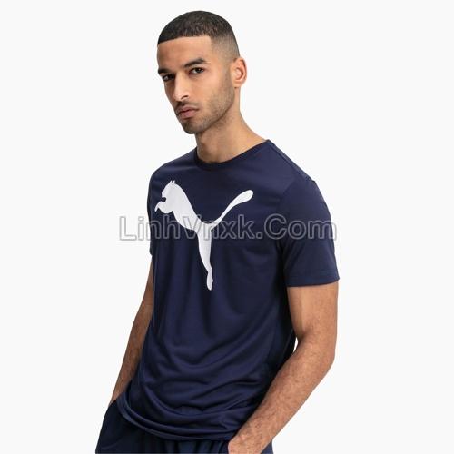 Áo thun nam thể thao puma navy logo to