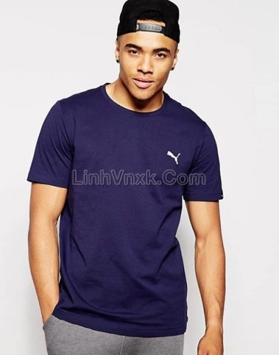 Áo thun nam thể thao puma xanh navy logo nhỏ