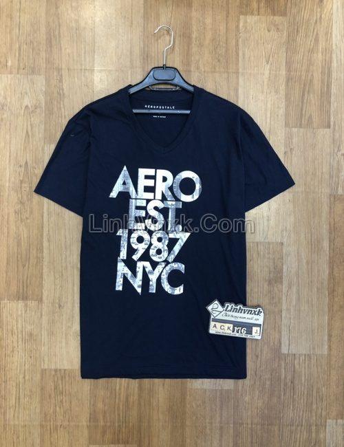 Áo thun nam cổ tim Aero navy logo to