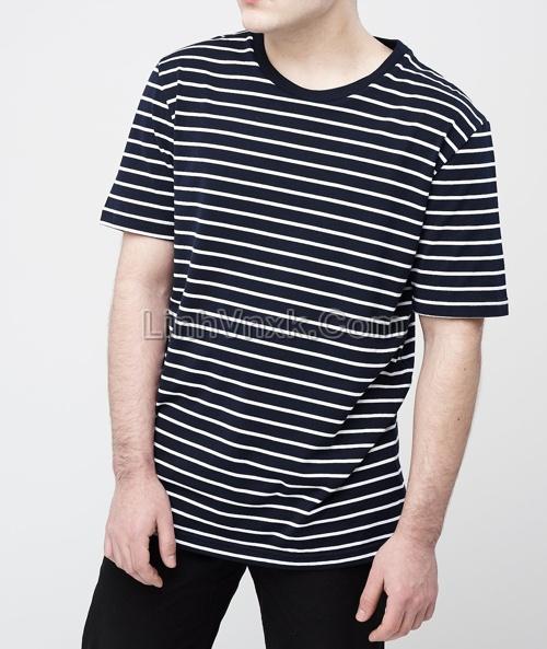 Áo phông Uni kẻ đen trắng
