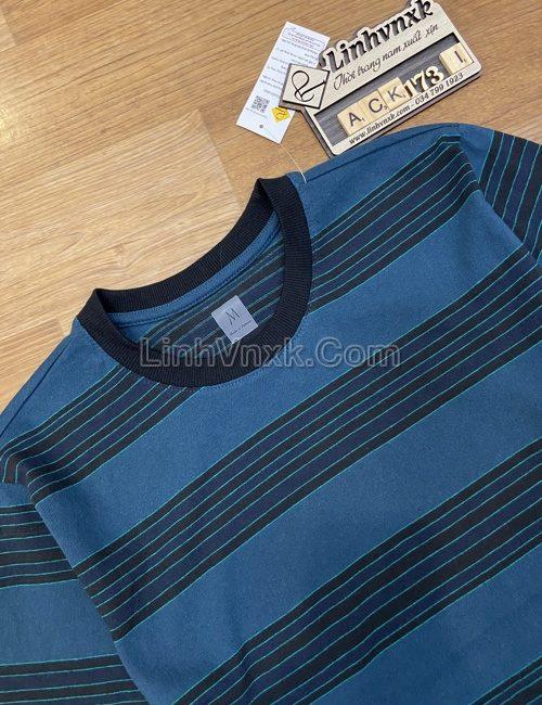Áo phông Uni kẻ đen rêu