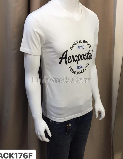 Phông cổ tim AERO trắng logo chữ