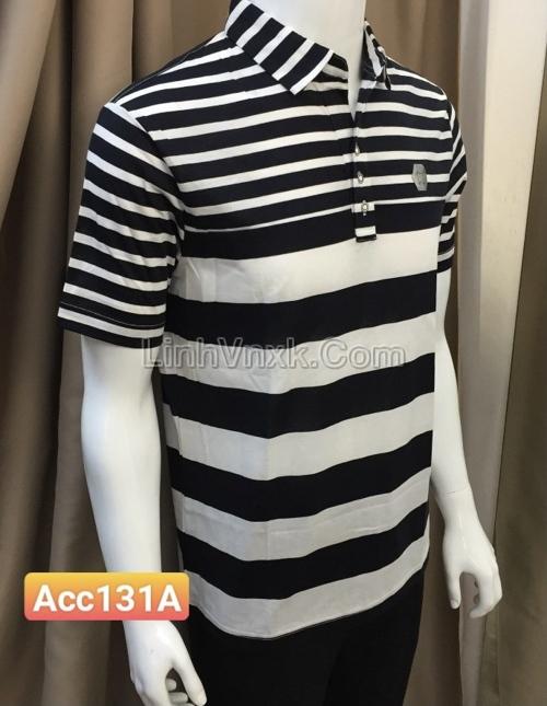 Áo Polo Perro kẻ trắng đen